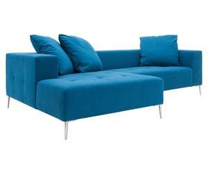 Hoekbank Eden met chaiselongue links, turquoise, B 258 cm