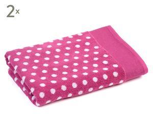 Douchehanddoeken Shower Dots, 2 stuks, roze/wit, 70 x 140 cm
