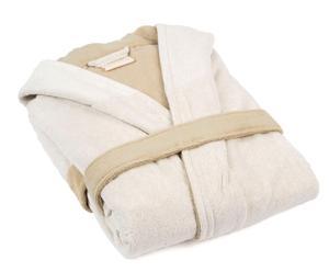 Badjas Organic Cottony Robe, groen/beige, maat S