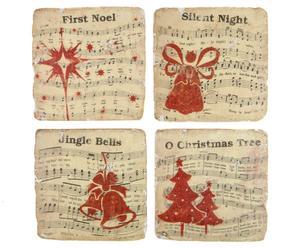 Onderzetters Christmas Songs, 4-delig, B 10 cm
