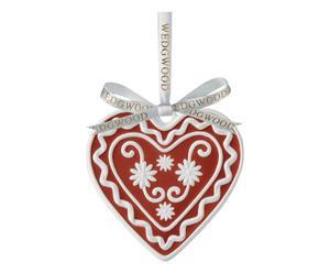 Porseleinen kerstboomhanger Hart 2014, rood/wit, H 8 cm