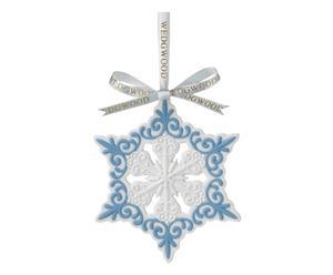 Porseleinen kerstboomhanger Pierced Snowflake, wit/blauw, H 10 cm