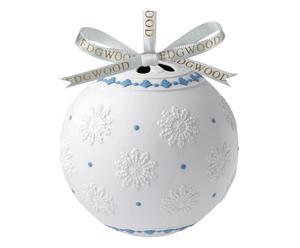Porseleinen, decoratieve kerstbal Jasper, wit/blauw, diameter 15 cm