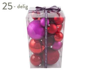 Kerstballenset Mia, 25-delig, rood/roze