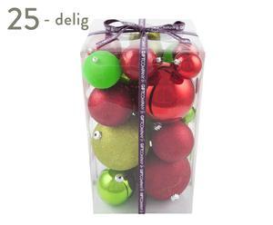 Kerstballenset Mia, 25-delig, rood/groen