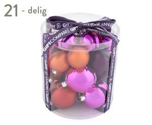 Kerstballenset Mia, 21-delig, roze/oranje
