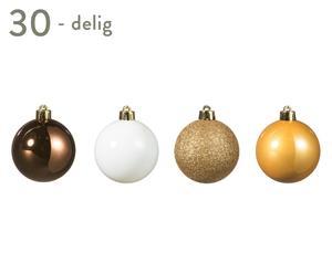 Kerstballenset Golden Christmas, 30-delig, multicolour, Ø 6 cm