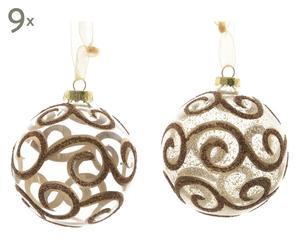 Kerstballen set Fara, transparant/goud/bruin, 18-delig