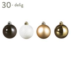 Kerstballen set Naomi, goud/zwart/wit, 30-delig, Ø 6 cm