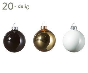 Kerstballen set Lizzie, goud/zwart/wit, 20-delig, Ø 6 cm