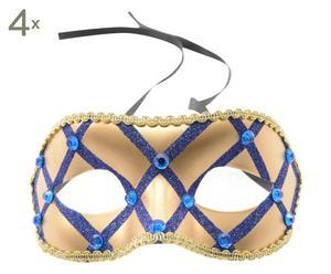 Maskers Viviana, blauw/goud, 4 stuks, B 18 cm
