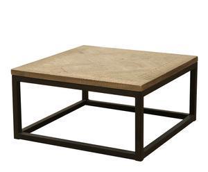 Salontafel vierkant, ijzer en eikenhout