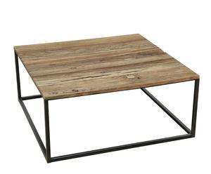 Salontafel vierkant, ijzer en iepenhout