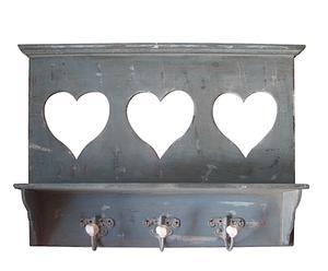 Houten kapstok met fotolijstjes in de vorm van harten
