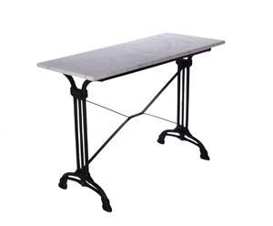 Rechthoekige consoletafel van marmer en ijzer, wit