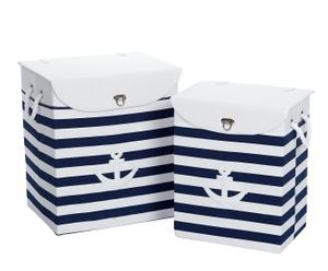 Set van 2 manden met handvatten van touw - blauw en wit