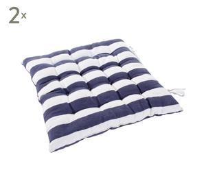 Set van 2 kussens Estrella, wit/blauw
