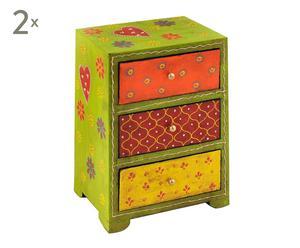 Set van 2 ladekasten Jai, dennenhout, multicolor, klein