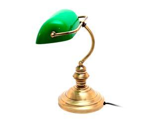 Tafellamp Banquero, groen/antiek goud, H 36 cm