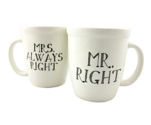 Set de 2 mugs de cerámica - blanco y negro