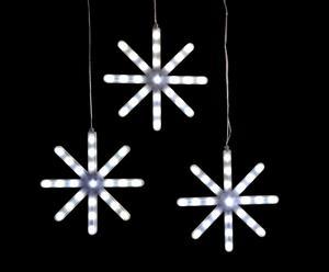 Slinger met 3 vallende sterren, wit - 75 LED-lampen