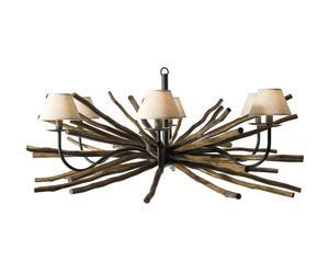 Hanglamp, hout, bruin en beige, diameter 100 cm