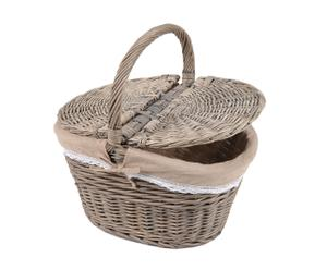 Picknickmand met deksel, rotan en linnen