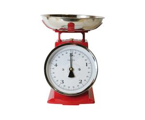 Keukenweegschaal RVS, rood en wit- H25