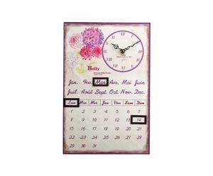Kalender PERPETUEL HOLLY metaal, roze en creme / 35 x 38