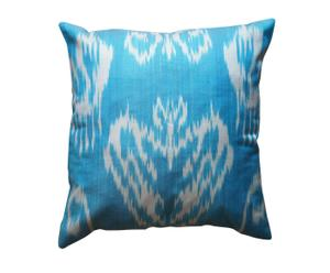 Hoes Ikat, Turquoise - 40 x 40 cm