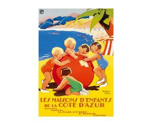 Affiche Cote d'Azur met kinderen - 50 x 70 cm