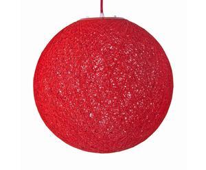 Hanglamp Faustine, bol, katoen, rood, 40 cm