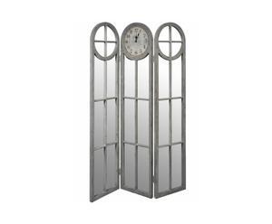Kamerscherm met spiegels en klok, hout en ijzer - H180 cm