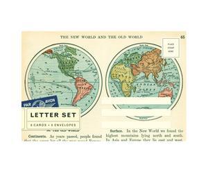 8 enveloppen en 8 postkaarten continents