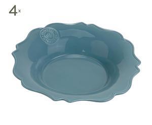 Set van 4 diepe borden, dolomiet, blauw - diameter 22 cm
