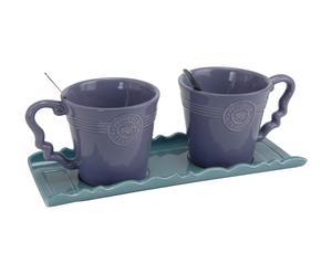 Set van 1 dienblad en 2 mokken, dolomiet, blauw en paars - L 28 cm