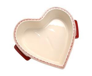 Ovenschotel Heart, dolomiet, beige en rood - L 35 cm