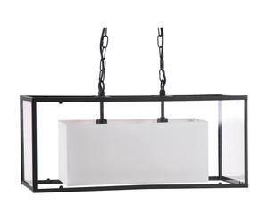 Hanglamp, metaal, glas en katoen, zilver en wit - L 60 cm