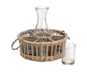 Pastis serveermand Petra, rotan en glas, Naturel - L31