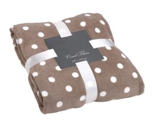 Fleece Plaid Dotty, beige/wit, 130 x 170 cm