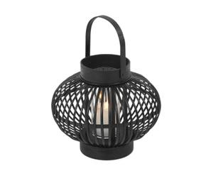 Lantaarn Rotan, zwart, diameter 13 cm