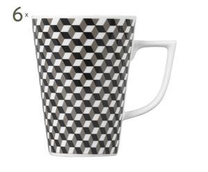 6 Mokken DAMIER, porselein, wit en zwart - H 11 cm