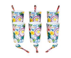 6 porseleinen mokken, Fleur - h  8