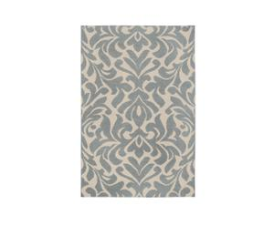 Tapijt floral, wol, blauw, 106 x 167 cm