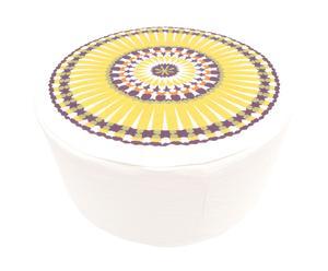 Poef, linnen, geel en wit - Diameter 55 cm