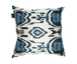 Kussen  Blue and black circle, zijde en katoen, 40 x 40 cm