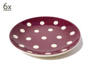6 borden Gros pois, aardewerk, violet