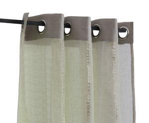Gordijn met ringen linnen, ecru - 140 x 280 cm