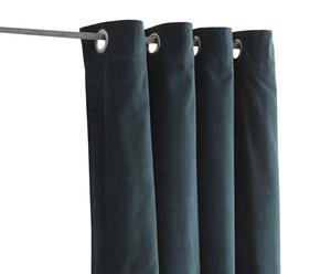 Gordijn met ringen katoenfluweel, blauw - 140 x 280 cm