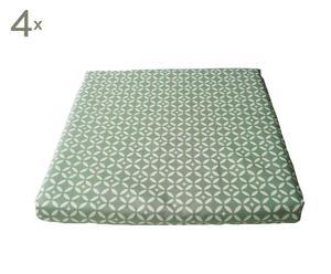 Set van 4 Zitkussens BARB, gecoat katoen, Groen - 40 x 40 cm